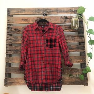 Madewell Red and Navy Plaid Button Down